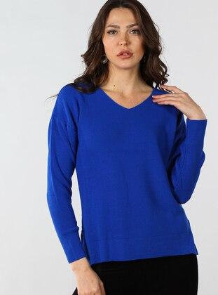 Saxe - V neck Collar - Cotton - Jumper