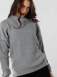Gray - Polo neck - Cotton - Jumper