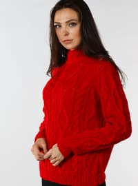 Red - Polo neck - Cotton - Jumper