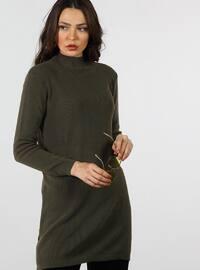 Khaki - Polo neck - Cotton - Tunic