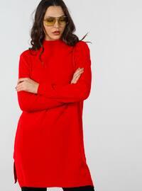 Red - Polo neck - Cotton - Tunic