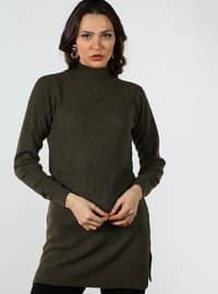 Green - Polo neck - Cotton - Tunic