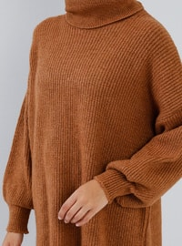 Brown - Tan - Polo neck - Acrylic -  - Tunic
