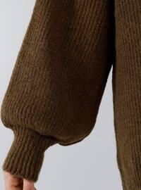 Mustard - Brown - Polo neck - Acrylic -  - Tunic
