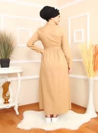Camel - Point Collar - Unlined - Dress