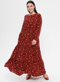 Maroon - Floral - Unlined - Crew neck - Plus Size Dress - Ginezza