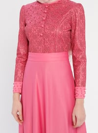 Dusty Rose - Unlined - Crew neck - Cotton - Muslim Evening Dress