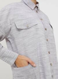 Gray - Maroon - Point Collar - Cotton - Tunic