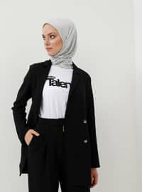 Black - Unlined - Shawl Collar - Viscose - Jacket