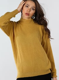 Mustard - Polo neck - Cotton - Jumper