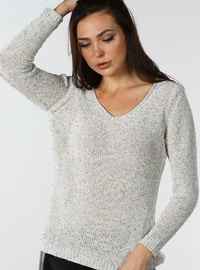 Cream - V neck Collar - Cotton - Jumper
