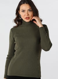 Khaki - Polo neck - Cotton -  - Jumper