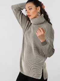 Khaki - Polo neck - Cotton -  - Jumper