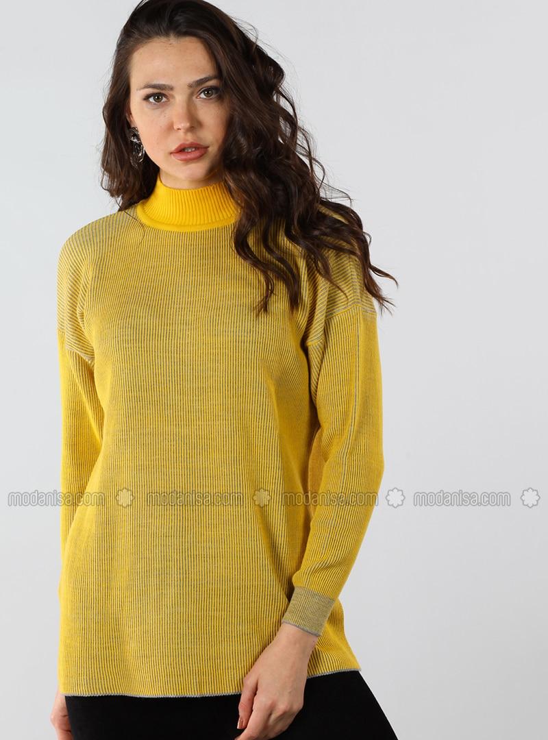 Yellow - Polo neck - Cotton - Jumper