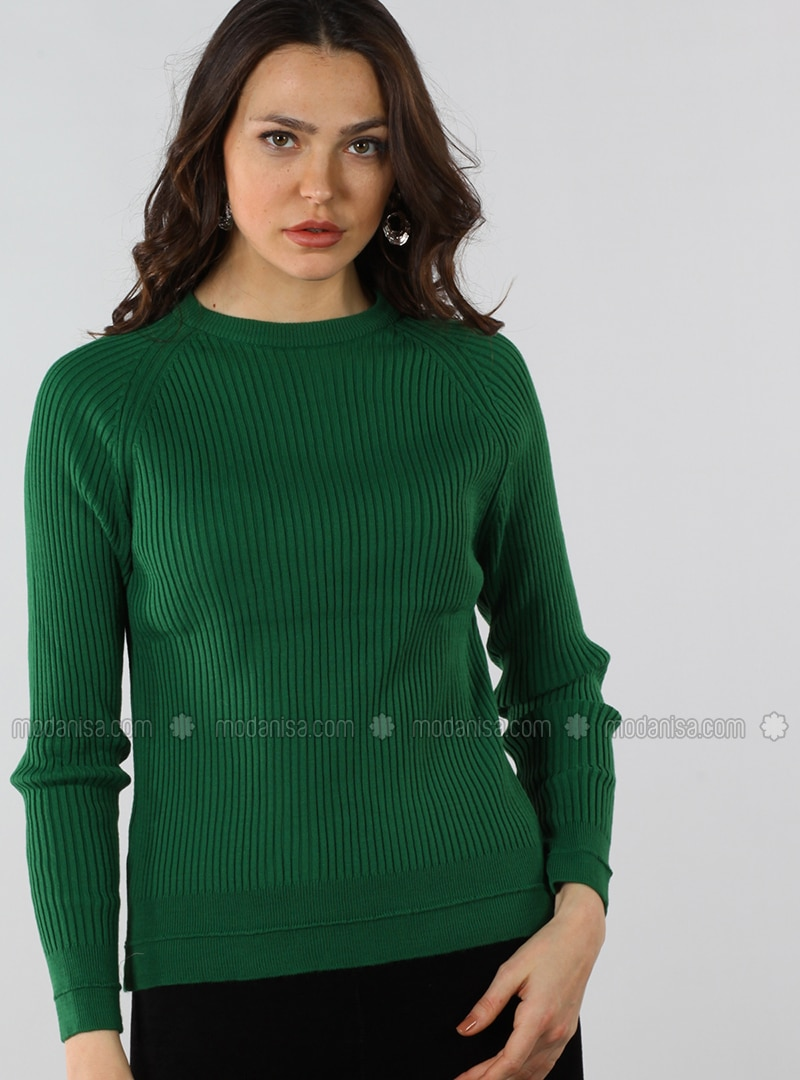 Green - Crew neck - Cotton - Jumper