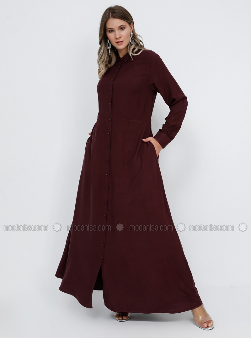 Plum - Unlined - Point Collar - Cotton - Plus Size Dress