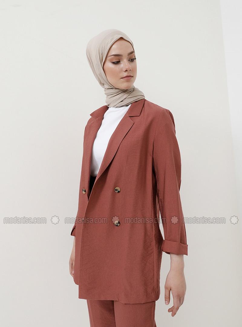 Terra Cotta - Unlined - Shawl Collar - Viscose - Jacket