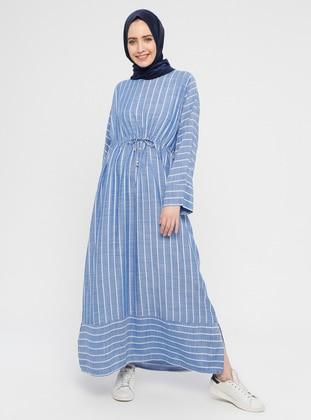 dc97fa3e3 Blue - Stripe - Crew neck - Unlined - Cotton - Dress