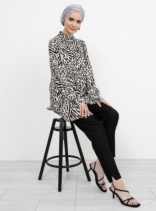 Black - Beige - Leopard - Zebra - Point Collar - Viscose - Blouses - Refka