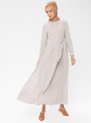 Brown - Stripe - Point Collar - Unlined - Cotton - Dress