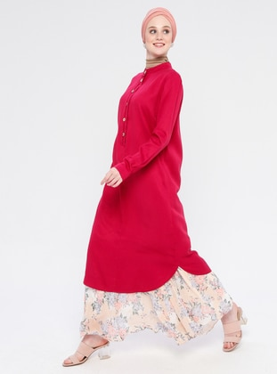 Pink - Fuchsia - Cherry - Button Collar - Viscose - Tunic