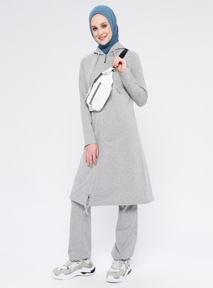 Gray - Cotton - Tracksuit Set