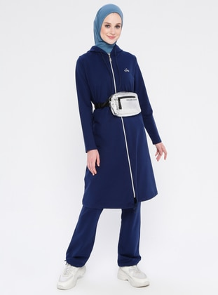 Blue - Navy Blue - Indigo - Cotton - Tracksuit Set