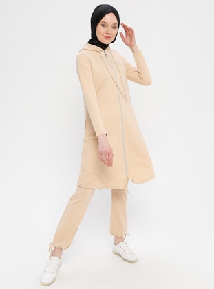Beige -  - Cotton - Tracksuit Set