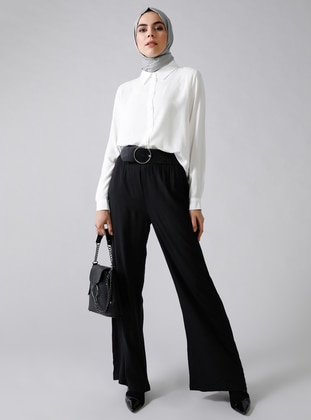 Black - Cotton - Pants