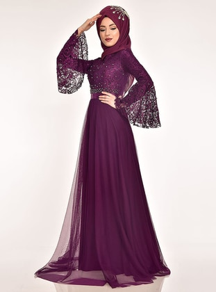 Plum - Fully Lined - Crew neck - Muslim Evening Dress - AYŞE MELEK TASARIM