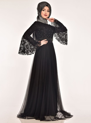 Black - Fully Lined - Crew neck - Muslim Evening Dress - AYŞE MELEK TASARIM