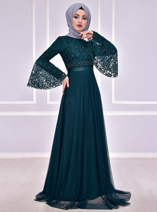 Emerald - Fully Lined - Crew neck - Muslim Evening Dress - AYŞE MELEK TASARIM