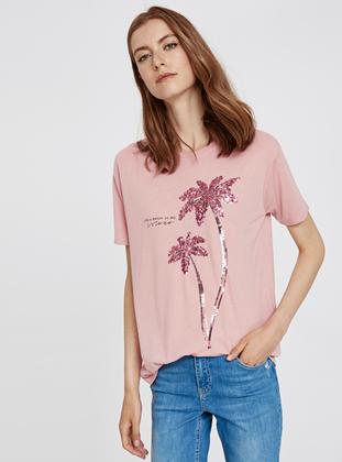 Crew neck - Pink - T-Shirt - LC WAIKIKI