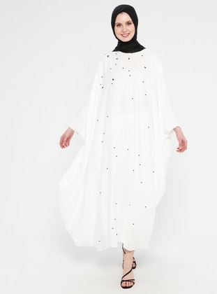 White - Ecru - Unlined - Crew neck - Abaya