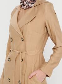 Camel - Unlined - Shawl Collar - Viscose - Trench Coat
