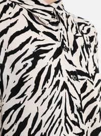 Black - White - Ecru - Zebra - Point Collar - Viscose - Blouses