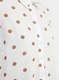 White - Polka Dot - Point Collar - Viscose - Blouses