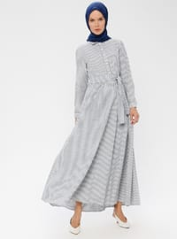 Navy Blue - Stripe - Point Collar - Unlined - Cotton - Dress
