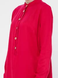Pink - Fuchsia - Cherry - Button Collar - Viscose - Tunic
