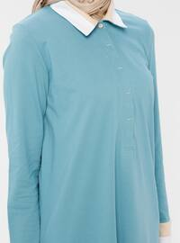 Blue - Point Collar - Viscose - Tunic