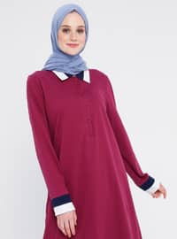 Plum - Point Collar - Viscose - Tunic
