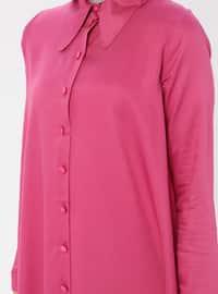 Pink - Fuchsia - Point Collar - Viscose - Tunic