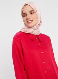 Red - Point Collar - Viscose - Tunic