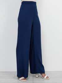 Indigo - Navy Blue - Cotton - Pants