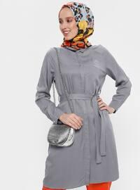 Gray - Point Collar - Viscose - Tunic