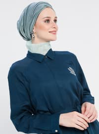 Petrol - Point Collar - Viscose - Tunic