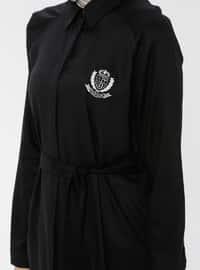 Black - Point Collar - Viscose - Tunic