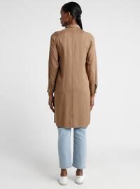 Brown - Point Collar - Viscose - Tunic