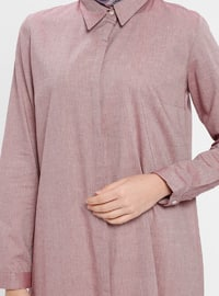 Maroon - Point Collar - Cotton - Tunic