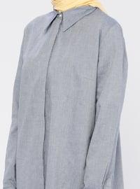 Navy Blue - Point Collar - Cotton - Tunic